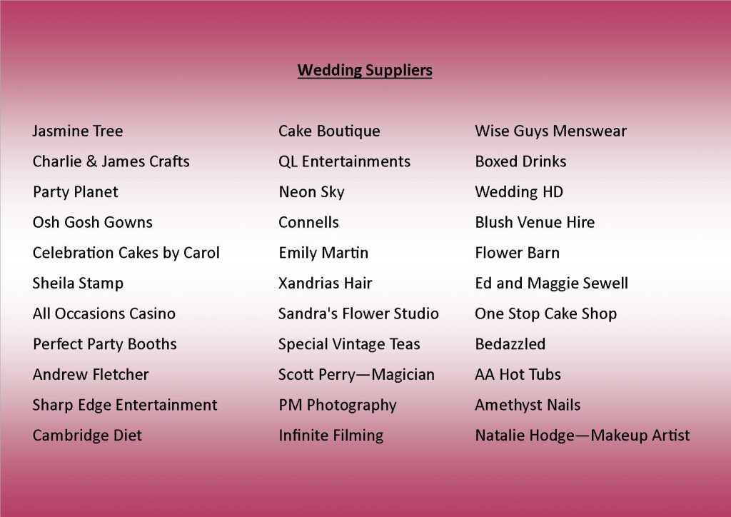 Wedding Suppliers at 220317